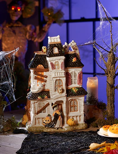 The Spooktacular Returns at ShopHQ - 486-314 FITZ AND FLOYD Halloween Harvest 15 Hand-painted Earthenware Haunted House Cookie Jar