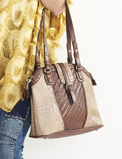 UP TO 55% OFF Handbags - 741-514 Madi Claire Ruth Croco Embossed Leather Woven Detailed Zip Top Satchel