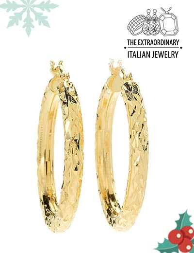 Italian Jewelry Festival Glamorous Holiday Gifts - 182-799 Stefano Oro 14K Gold Tubing Choice of Size Diamond Cut Hoop Earrings