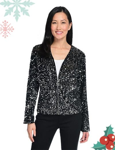 UP TO 60% OFF Holiday Party Style Ready to Mix and Mingle at ShopHQ   745-136 mōd x Knit Long Sleeve V-Neck 2-Pocket Sequined Jacket