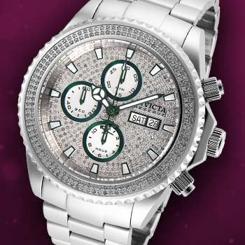 Invicta Stainless Steels at Evine- 656-331 Invicta Reserve Men's 47mm Pro Diver Swiss Automatic Chronograph 1.82ctw Diamond Bracelet Watch