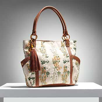 Surprise Sample Sale Limited Quantities! at Evine - 740-335 As Is Sharif Orman Garden Embroidered Linen & Leather Zip Top Tote Bag