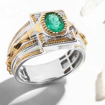 Men's Jewelry Wear Something Bold at Evine - 157-299 Men's en Vogue 1.40ctw Emerald & White Topaz Band Ring