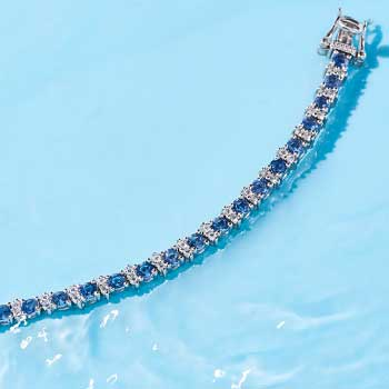 UP TO XX% OFF Sapphire Jewelry at Evine - 179-604 Gem Treasures® Ceylon Blue Sapphire & White Zircon Tennis Bracelet