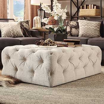 UP TO 40% OFF Furniture Sale Redecorate on a Dime at Evine - 462-086 HomeBasica Bradford Choice of Tufted Linen Cocktail Ottoman