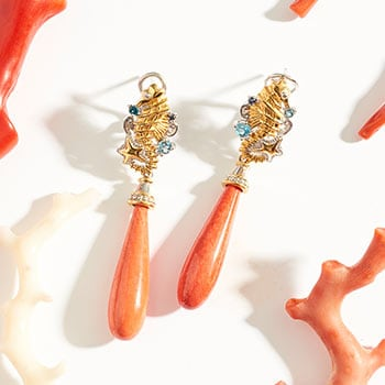 Last Chance Jewelry at Evine - 139-421 Gems en Vogue 2.25 30 x 8mm Bamboo Coral, Topaz & Sapphire Seahorse Drop Earrings