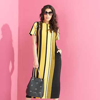 Candy Colors Unwrap Web Exclusive Deals at Evine - 740-406 Marc Bouwer Striped Rib Knit Short Sleeve 2-Pocket Keyhole Back Maxi Dress