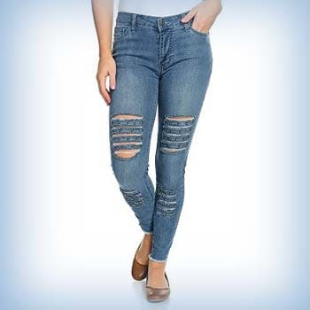 Don't Miss Out Yesterday's Deals at Evine - 741-067 - Indigo Thread Co.™ Denim 5-Pocket Raw Edge Hem Stud Embellished Distressed Jeans
