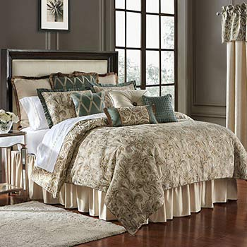 UP TO 45% OFF Your Dream Bedding Lounge in Luxury at Evine - 478-842 Waterford Anora BrassJade Reversible 4-Piece Comforter Set