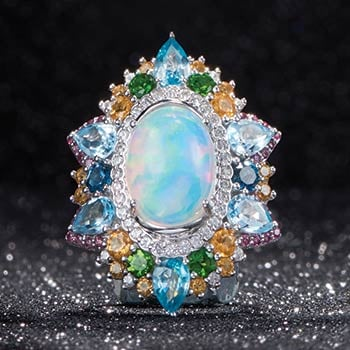 Over 60% OFF Clearance Picks at Evine - 167-019 Victoria Wieck Collection 14 x 10mm Oval Ethiopian Opal & Multi Gemstone Ring