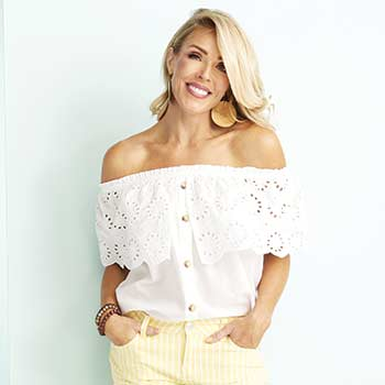 STARTING AT $14.99 Top Tuesday Dress Them Up or Down at Evine - 742-490 OSO Casuals® Woven Eyelet Convertible Neck Ruffle Trimmed Button-up Top