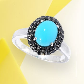 Totally Turquoise Dive Into Beautiful Blues at Evine - 168-442 Gemporia Oval Sleeping Beauty Turquoise & Black Spinel Double Halo Ring