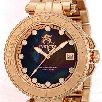 Just for Her Shop All Women's Invicta at Evine - 659-205 Invicta Women's Subaqua Limited Edition Swiss Quartz Date Mother-of-Pearl Bracelet Watch