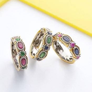 Precious Gemstones at Evine - 157-783 Gems en Vogue Choice of Precious Gemstone 7-Stone Band Ring