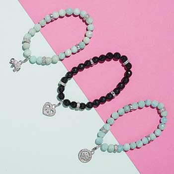 Don't Miss Out Yesterday's Deals at Evine - 180-758 Peace & Love Legacy Choice of Length Onyx Beaded Charm Bracelet 180-756 Peace & Love 6.5 or 7.25 Amazonite & White Topaz Charm Bracelet