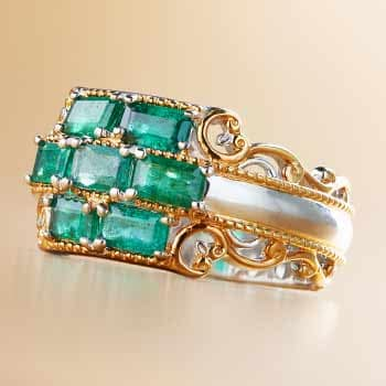 Red & Green Gems Get Holiday Chic at Evine - 169-220 Gems en Vogue 2.04ctw Emerald 7-Stone Cluster Band Ring