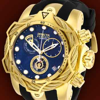 INVICTA BOLT SAVVY FEATURES at Evine -  657-618 Invicta Reserve Men's 52mm Venom Bolt Cable Swiss Quartz Chronograph Silicone Strap Watch