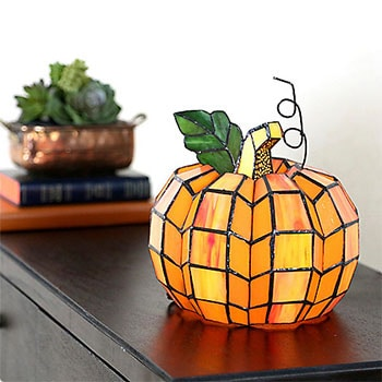 Shop the Latest & Greatest at ShopHQ - 486-323 Tiffany-Style Patch the Pumpkin 9 Stained Glass Accent Lamp