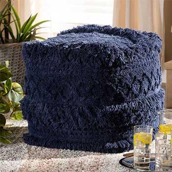 Shop the Latest & Greatest at ShopHQ - 486-191 Baxton Studio Curlew 15.5 Handwoven Cotton Pouf Ottoman