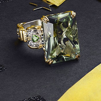 New Arrivals Shop the Latest & Greatest at ShopHQ - 184-208 Gems en Vogue Choice of Shape Ametista Prasiolite & Chrome Diopside Scrollwork Ring
