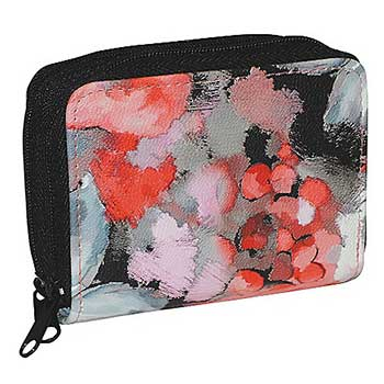Wallets & Keychains Small but Mighty at ShopHQ - 743-960 Sharif Hand-Painted Leather RFID Blocking Wallet w Wristlet Strap
