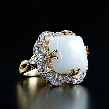 Rings Sale At ShopHQ - 177-192 Victoria Wieck Collection 14mm White Jade & White Zircon Fancy Halo Ring