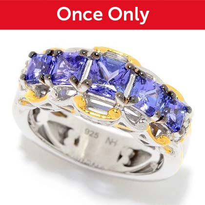 Once Only At the Lowest Price Ever | 176-450 Gems en Vogue 1.42ctw Princess Cut Tanzanite & Diamond 5-Stone Band Ring