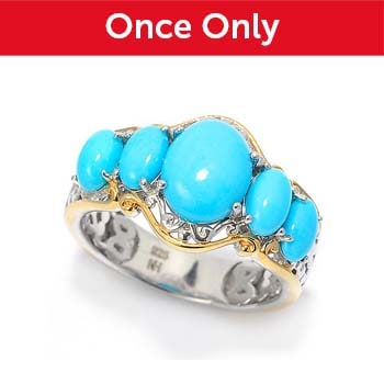 New Items Added Daily At Their Lowest Prices Ever - 159-652 Gems en Vogue Sleeping Beauty Turquoise 5-Stone Band Ring