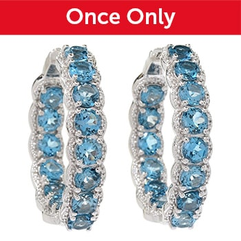 New Items Added Daily At Their Lowest Prices Ever at ShopHQ   185-336 Gem Treasures® London Blue Topaz & White Zircon Inside-out Hoop Earrings