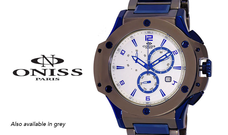 Today's Web Only Top Value at Evine - 662-695 Oniss Men's 55mm Swiss Parts Quartz Chronograph Stainless Steel Bracelet Watch