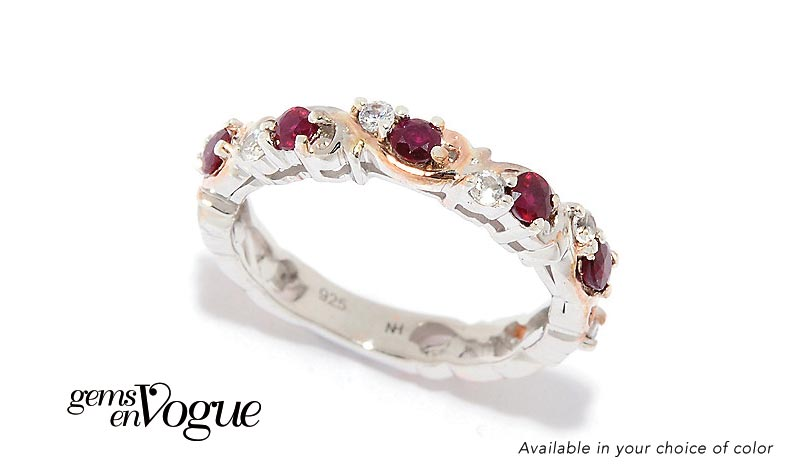 Today's Top Value at Evine - 176-490   Gems en Vogue Choice of Gemstone & White Zircon Half-Band Stack Ring
