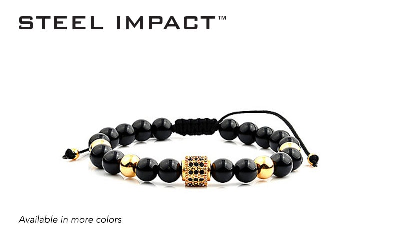 Today's Top Values - 169-630 Steel Impact™ Men's Stainless Steel Crystal Accented Adjustable Beaded Bracelet
