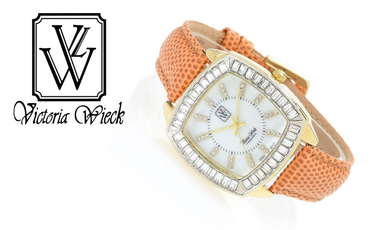 181-294 Women's Quartz Leather Strap Watch Made w Swarovski Crystals