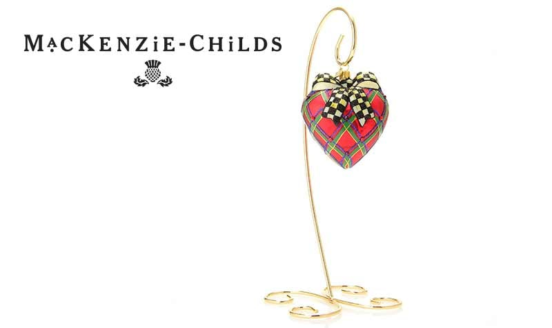 Prime Time Bests Deals at Evine -  476-914 Tartan Hand-Painted Heart Glass Ornament w Stand