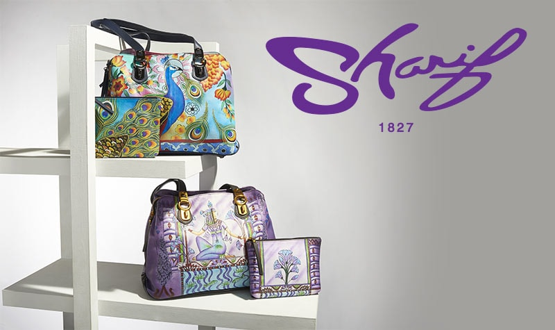 Sharif Hand-Painted Leather Multi Compartment Satchel w Pouch -at ShopHQ