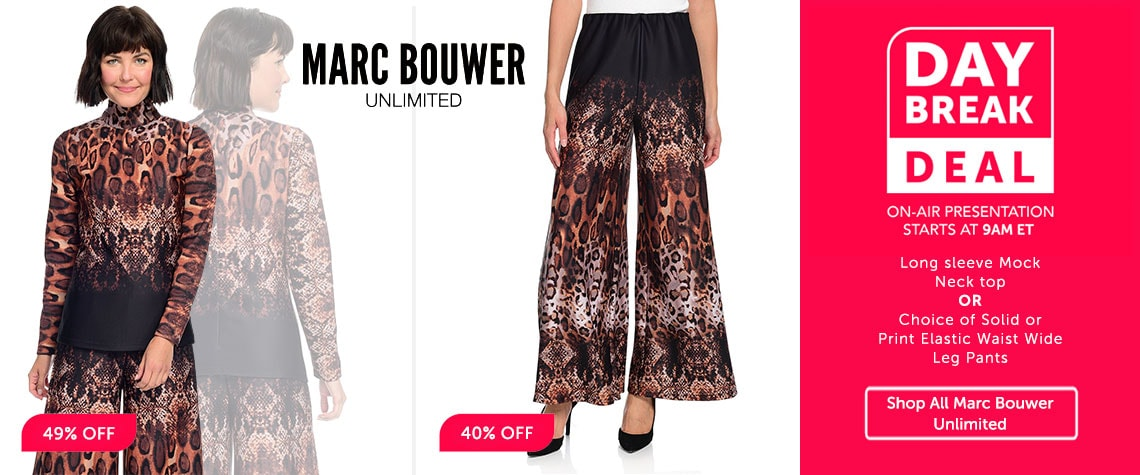 Daybreak Deal 743-557 MARC BOUWER: LONG SLEEVE MOCK NECK TOP and 743-558 Marc Bouwer Solid or Printed Knit Elastic Waist High Rise Pull-on Wide Leg Pants at ShopHQ