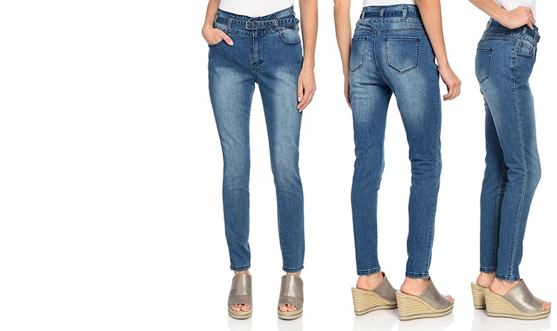 New Items Added Daily at Lowest Prices Ever at ShopHQ - 742-626 mōd x Stretch Denim High Rise 5-Pocket Skinny Jeans w Removable Belt