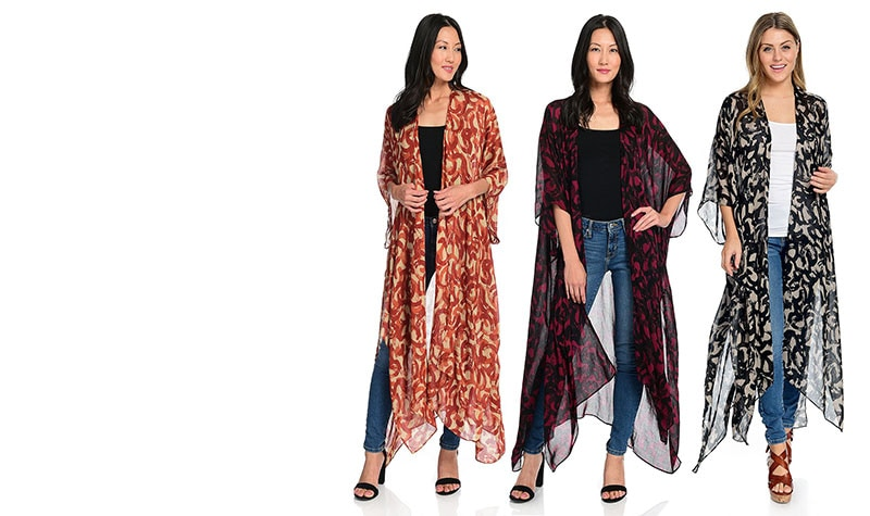 Available in 5 Fall Colors Abstract Printed Woven Open Front Kimono at ShopHQ | 742-042 Harve Benard Abstract Printed Woven Open Front Kimono
