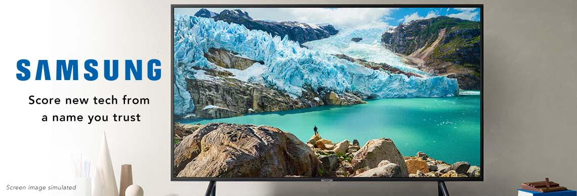 SAMSUNG  Score new tech from a name you trust - Screen image simulated - at ShopHQ -  475-304 Samsung Choice of Size 7100 Series 4K UHD Smart LED TV w 2-Year Warranty