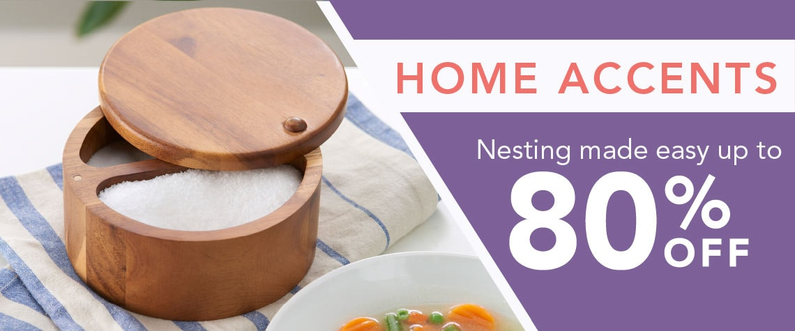 HOME ACCENTS Nesting made easy up to 80% OFF - 475-232 Paula Deen 6 Dual Compartment Acacia Wood Salt Box w Swivel Lid