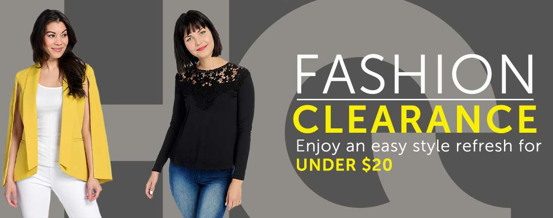 FASHION CLEARANCE Enjoy an easy style refresh for UNDER $20 at ShopHQ - 480-455  738-751 Kate & Mallory® Knit Long Sleeve Crochet Detailed Keyhole Back Hi-Lo Top,  726-714 Marc Bouwer Woven Fully Lined Rolled Collar 2-Pocket Cape