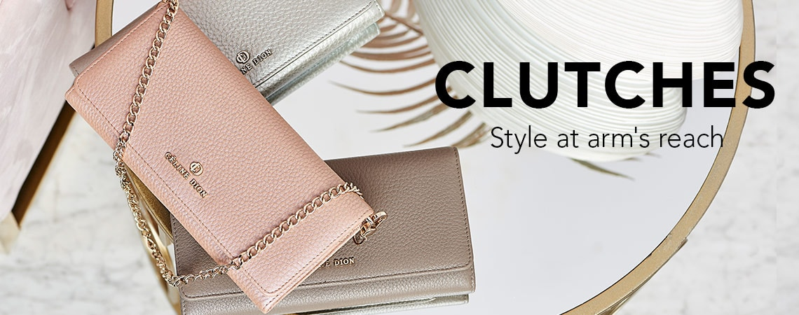 CLUTCHES  Style at arm's reach at Evine - 740-681 Celine Dion Collection Adagio Leather Clutch Wallet w 2 Straps