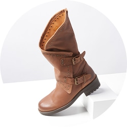 739-139 Musse & Cloud Falida Leather Buckle Detailed Mid-Calf Boots