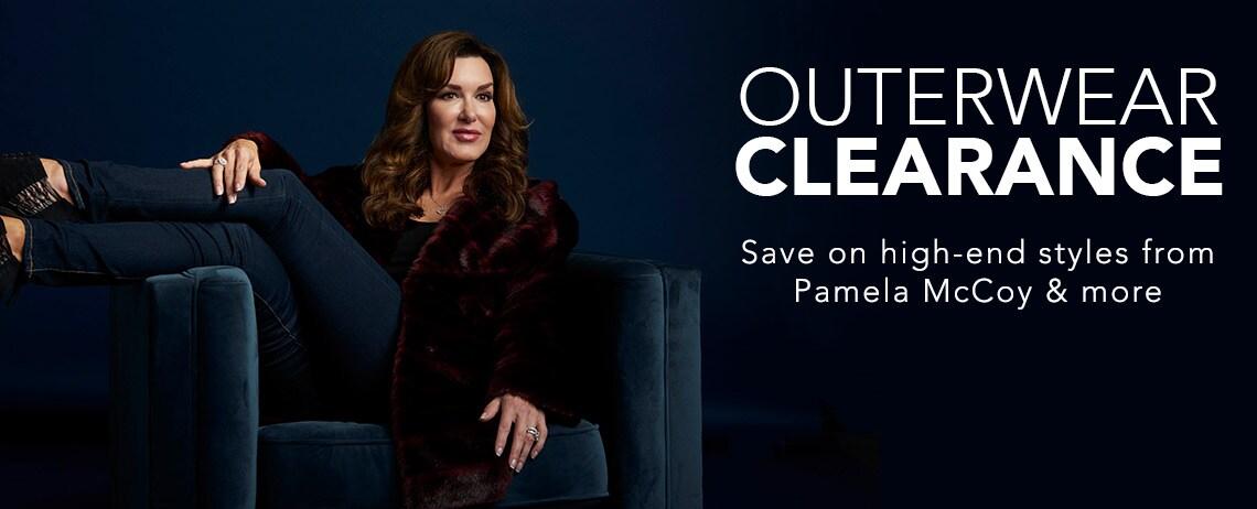 OUTERWEAR CLEARANCE - 734-818 Pamela McCoy Faux Fur Shawl Collar 3-Pocket Hook Front Coat