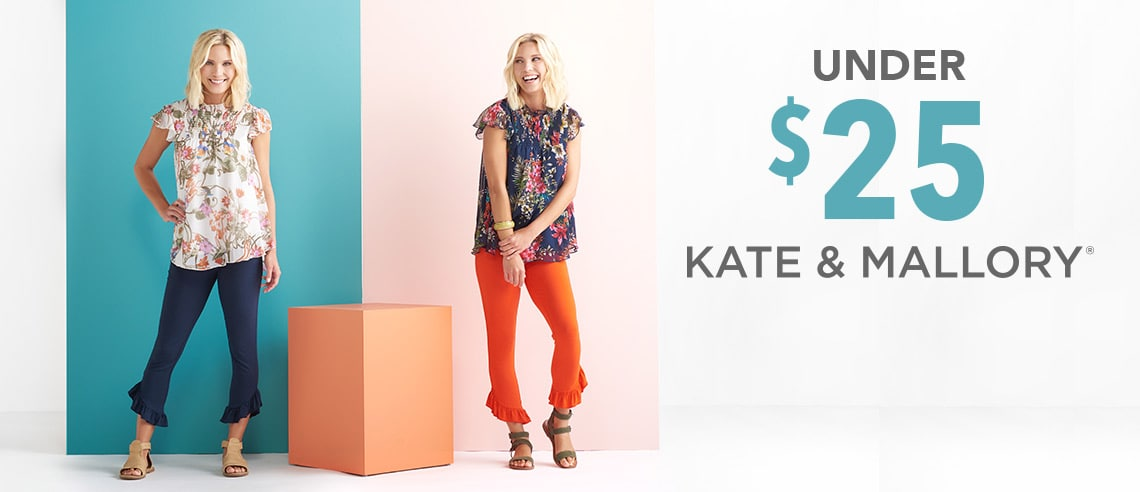 UNDER $25 KATE & MALLORY® - 737-320 Kate & Mallory® Knit & Woven Flutter Sleeve Ruffled Collar Smocked Top, 737-319 Kate & Mallory® Jersey Knit Elastic Waist Ruffle Trimmed Pull-on Pants