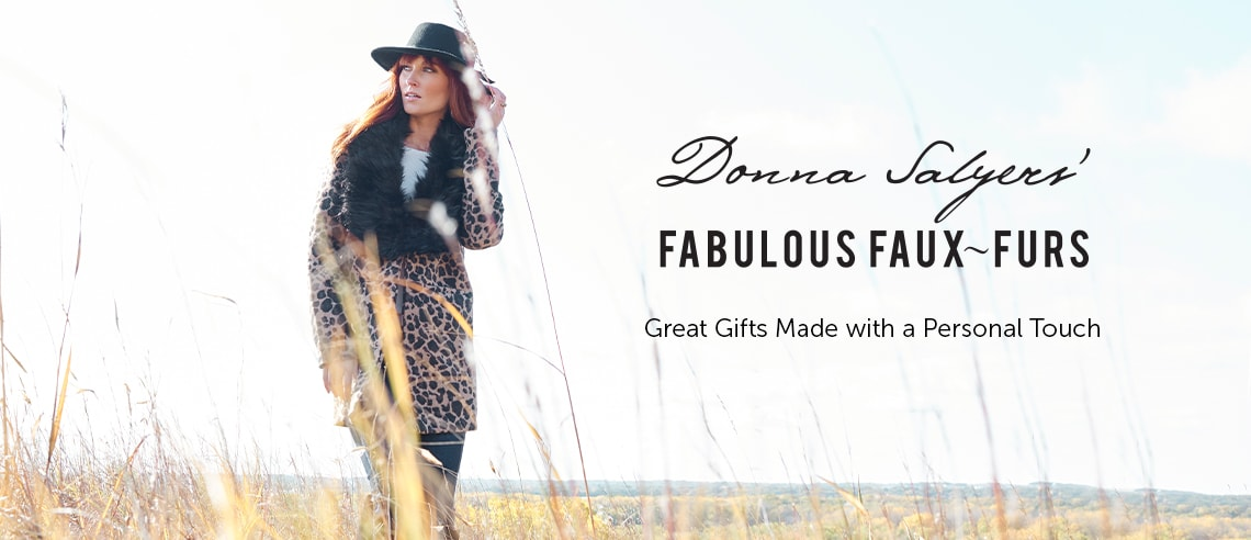 Donna Salyers' Fabulous Faux Furs Great Gifts Made with a Personal Touch - 743-366 Donna Salyers' Fabulous-Furs Knit 2-Pocket Faux Fur Collar Car Coat