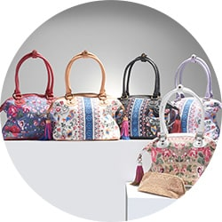 Up to 60% Off Sharif Handbags - 737-187 Sharif Andalusian Garden Bird or Floral Embroidered Canvas & Leather Satchel w Cork Pouch