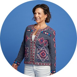 Brand New Fashion - 742-054 Indigo Moon Embroidered Woven Mirror Detailed Hook Front Collarless Jacket