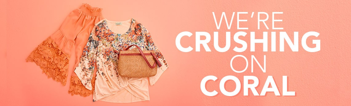 WE'RE CRUSHING ON CORAL - 731-028 Marc Bouwer Woven Crepe Long Bell Sleeve Convertible Neck Crochet Trim Top, 740-058 One World Printed Knit 34 Asymmetrical Sleeve Uneven Hem Gathered Front Top, 737-330 Madi Claire Kris Floral Tool Embossed Leather Crossbody Bag w Zip Top Clutch