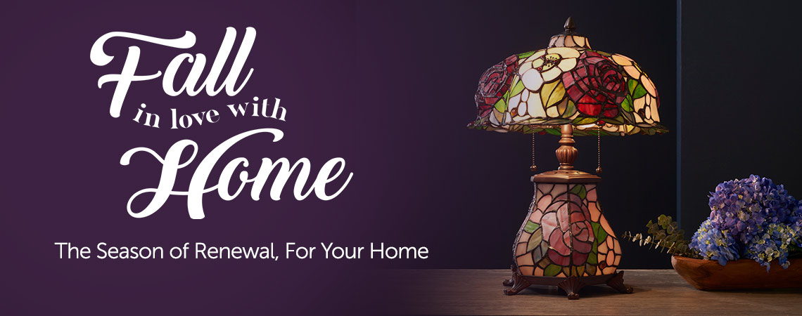 Fall in Love With Home Event at ShopHQ - The Season of Renewal, For Your Home - 484-260 Tiffany-Style 3D Bending Flowers 16.5 Double Lit Stained Glass Table Lamp